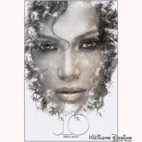 Image of Jennifer Lopez Ink Smudge Style Art Print - Metal Art Print / 24x36 inch