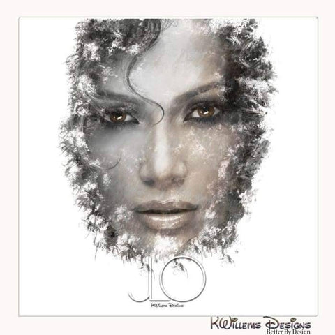Jennifer Lopez Ink Smudge Style Art Print - Wrapped Canvas Art Print / 24x24 inch