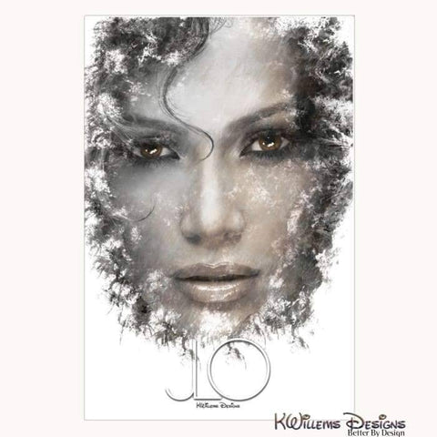 Jennifer Lopez Ink Smudge Style Art Print - Wrapped Canvas Art Print / 24x36 inch