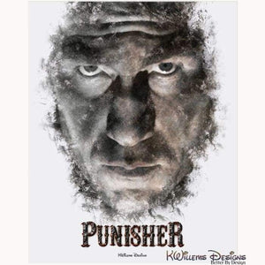 Jon Bernthal as The Punisher Ink Smudge Style Art Print - Acrylic Art Print / 16x20 inch