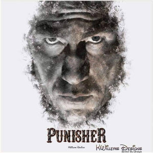 Jon Bernthal as The Punisher Ink Smudge Style Art Print - Acrylic Art Print / 24x24 inch