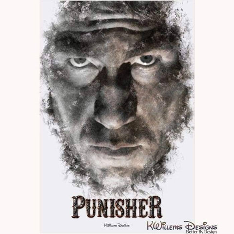 Image of Jon Bernthal as The Punisher Ink Smudge Style Art Print - Acrylic Art Print / 24x36 inch