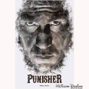 Jon Bernthal as The Punisher Ink Smudge Style Art Print - Acrylic Art Print / 24x36 inch