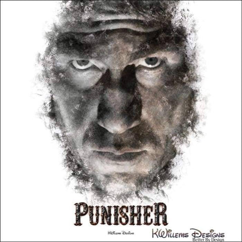 Image of Jon Bernthal as The Punisher Ink Smudge Style Art Print