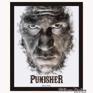 Jon Bernthal as The Punisher Ink Smudge Style Art Print - Framed Canvas Art Print / 16x20 inch
