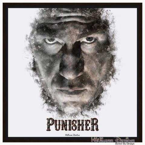 Image of Jon Bernthal as The Punisher Ink Smudge Style Art Print - Framed Canvas Art Print / 24x24 inch