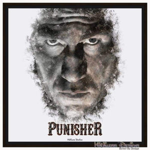 Jon Bernthal as The Punisher Ink Smudge Style Art Print - Framed Canvas Art Print / 24x24 inch