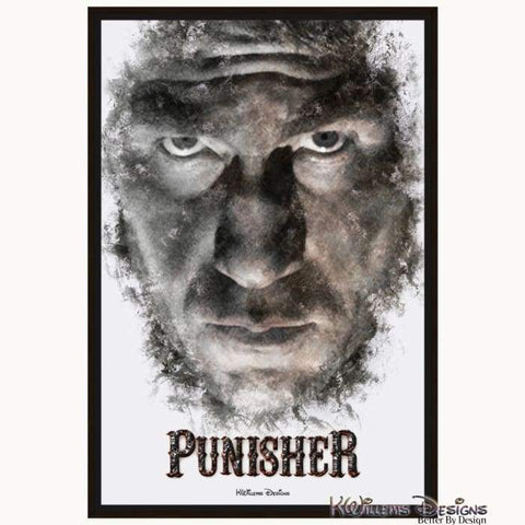 Image of Jon Bernthal as The Punisher Ink Smudge Style Art Print - Framed Canvas Art Print / 24x36 inch