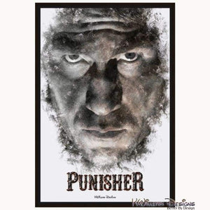 Jon Bernthal as The Punisher Ink Smudge Style Art Print - Framed Canvas Art Print / 24x36 inch