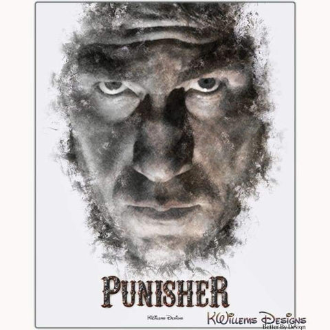 Image of Jon Bernthal as The Punisher Ink Smudge Style Art Print - Metal Art Print / 16x20 inch