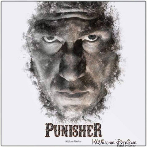 Image of Jon Bernthal as The Punisher Ink Smudge Style Art Print - Metal Art Print / 24x24 inch