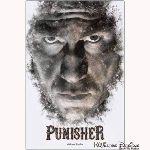 Image of Jon Bernthal as The Punisher Ink Smudge Style Art Print - Metal Art Print / 24x36 inch