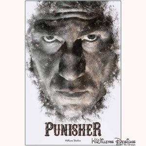 Jon Bernthal as The Punisher Ink Smudge Style Art Print - Metal Art Print / 24x36 inch
