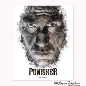 Jon Bernthal as The Punisher Ink Smudge Style Art Print - Wrapped Canvas Art Print / 16x20 inch