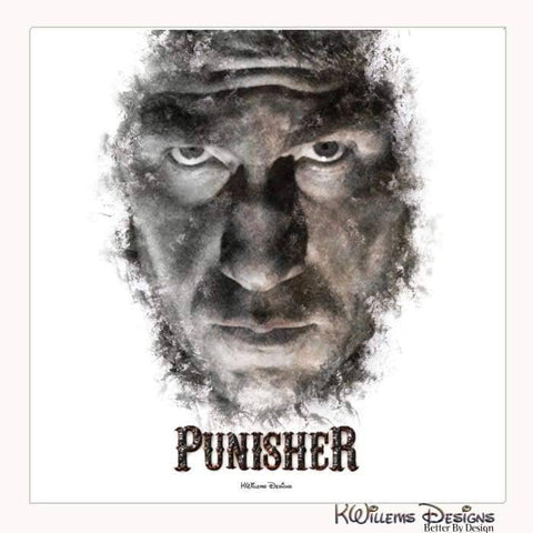 Image of Jon Bernthal as The Punisher Ink Smudge Style Art Print - Wrapped Canvas Art Print / 24x24 inch