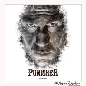 Jon Bernthal as The Punisher Ink Smudge Style Art Print - Wrapped Canvas Art Print / 24x24 inch