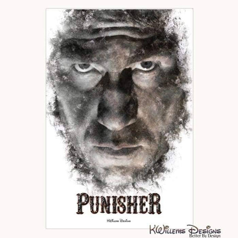 Image of Jon Bernthal as The Punisher Ink Smudge Style Art Print - Wrapped Canvas Art Print / 24x36 inch