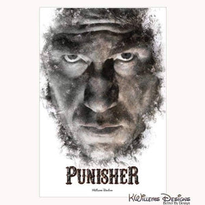 Jon Bernthal as The Punisher Ink Smudge Style Art Print - Wrapped Canvas Art Print / 24x36 inch
