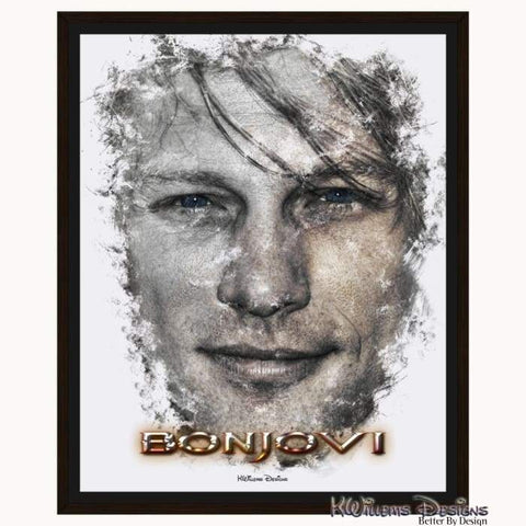 Image of Jon Bon Jovi Ink Smudge Style Art Print - Framed Canvas Art Print / 16x20 inch