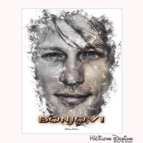 Image of Jon Bon Jovi Ink Smudge Style Art Print - Wrapped Canvas Art Print / 16x20 inch