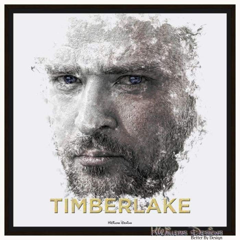 Image of Justin Timberlake Ink Smudge Style Art Print - Framed Canvas Art Print / 24x24 inch