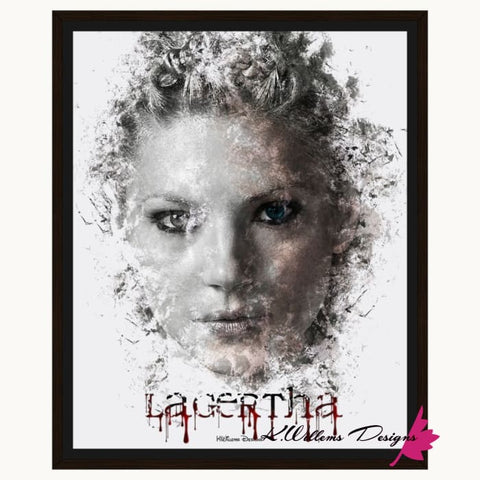 Image of Katheryn Winnick as Lagertha Lothbrok Ink Smudge Style Art Print - Framed Canvas Art Print / 16x20 inch