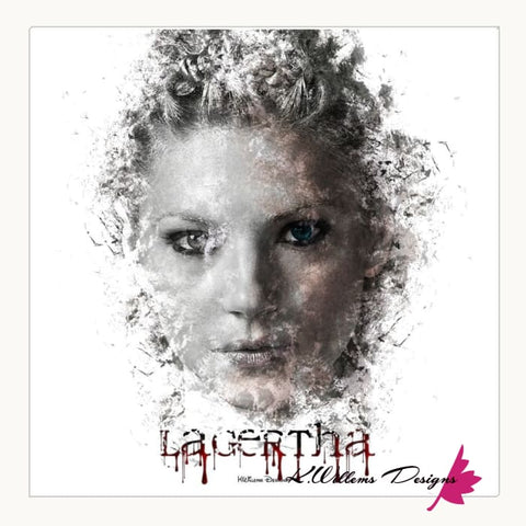Image of Katheryn Winnick as Lagertha Lothbrok Ink Smudge Style Art Print - Wrapped Canvas Art Print / 24x24 inch
