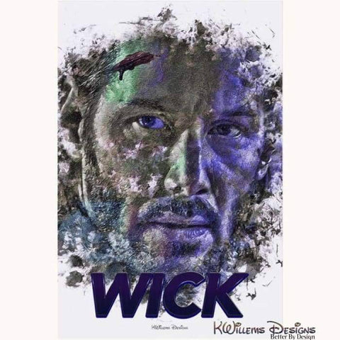 Image of Keanu Reeves as John Wick Ink Smudge Style Art Print - Acrylic Art Print / 24x36 inch