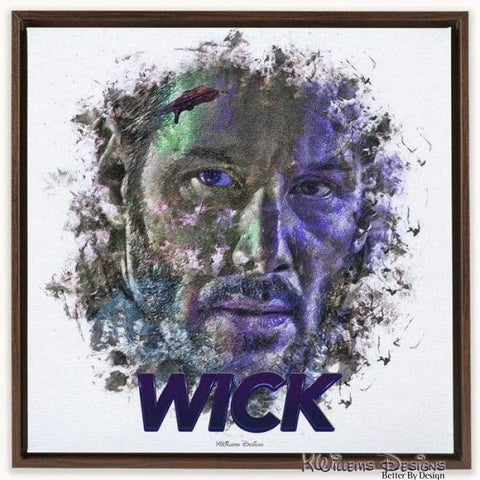 Image of Keanu Reeves as John Wick Ink Smudge Style Art Print - Framed Canvas Art Print / 24x24 inch