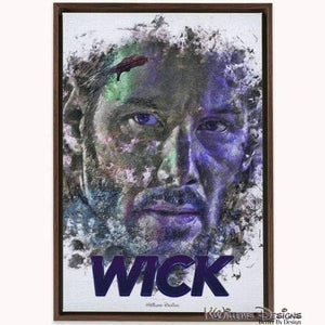 Keanu Reeves as John Wick Ink Smudge Style Art Print - Framed Canvas Art Print / 24x36 inch