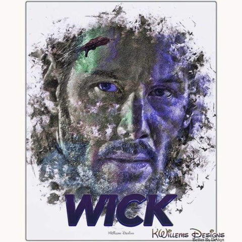 Image of Keanu Reeves as John Wick Ink Smudge Style Art Print