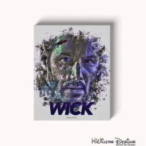 Image of Keanu Reeves as John Wick Ink Smudge Style Art Print - Wrapped Canvas Art Print / 16x20 inch