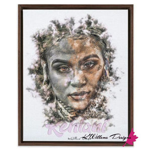 Kehlani Ink Smudge Style Art Print - Framed Canvas Art Print / 16x20 inch