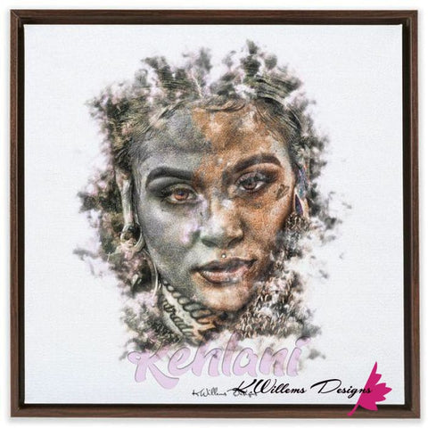 Image of Kehlani Ink Smudge Style Art Print - Framed Canvas Art Print / 24x24 inch