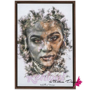 Kehlani Ink Smudge Style Art Print - Framed Canvas Art Print / 24x36 inch