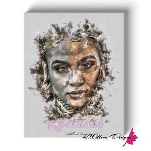Kehlani Ink Smudge Style Art Print - Wrapped Canvas Art Print / 16x20 inch
