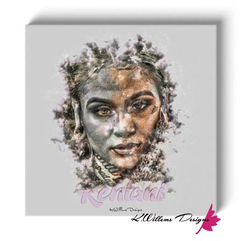 Image of Kehlani Ink Smudge Style Art Print - Wrapped Canvas Art Print / 24x24 inch