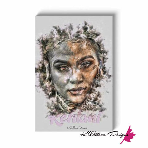 Image of Kehlani Ink Smudge Style Art Print - Wrapped Canvas Art Print / 24x36 inch