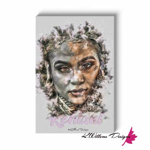 Kehlani Ink Smudge Style Art Print - Wrapped Canvas Art Print / 24x36 inch