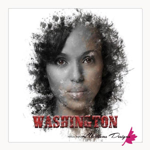 Kerry Washington Premium Ink Smudge Art Print - Acrylic Art Print / 24x24 inch
