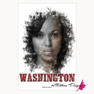 Kerry Washington Premium Ink Smudge Art Print - Acrylic Art Print / 24x36 inch