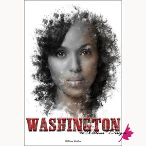 Kerry Washington Premium Ink Smudge Art Print - Giclee Art Print / 24x36 inch