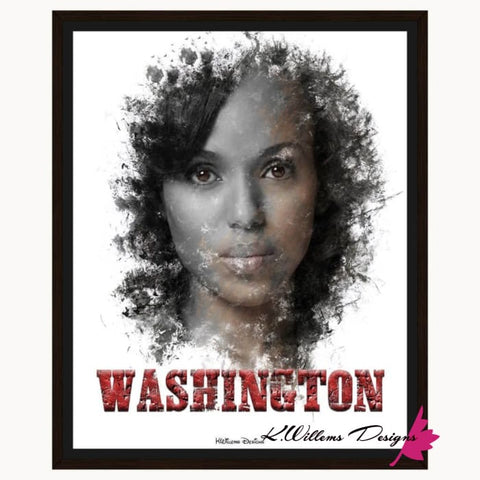Image of Kerry Washington Premium Ink Smudge Art Print - Framed Canvas Art Print / 16x20 inch