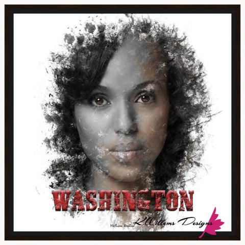 Image of Kerry Washington Premium Ink Smudge Art Print - Framed Canvas Art Print / 24x24 inch