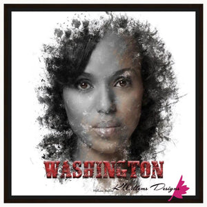 Kerry Washington Premium Ink Smudge Art Print - Framed Canvas Art Print / 24x24 inch
