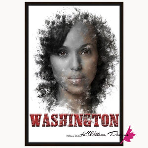 Kerry Washington Premium Ink Smudge Art Print - Framed Canvas Art Print / 24x36 inch