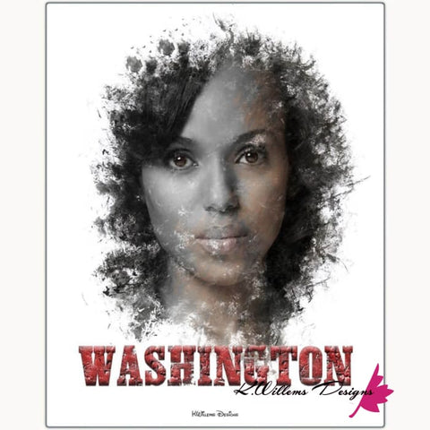 Image of Kerry Washington Premium Ink Smudge Art Print - Metal Art Print / 16x20 inch
