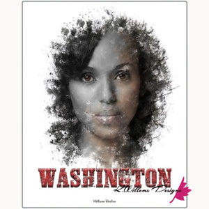Kerry Washington Premium Ink Smudge Art Print - Metal Art Print / 16x20 inch
