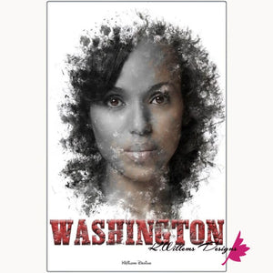 Kerry Washington Premium Ink Smudge Art Print - Metal Art Print / 24x36 inch