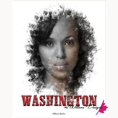 Image of Kerry Washington Premium Ink Smudge Art Print - Wrapped Canvas Art Print / 16x20 inch